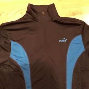 Puma Black & Light Blue Zipper Jacket Size Medium